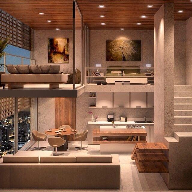 Modern och futuristisk inredning för loft