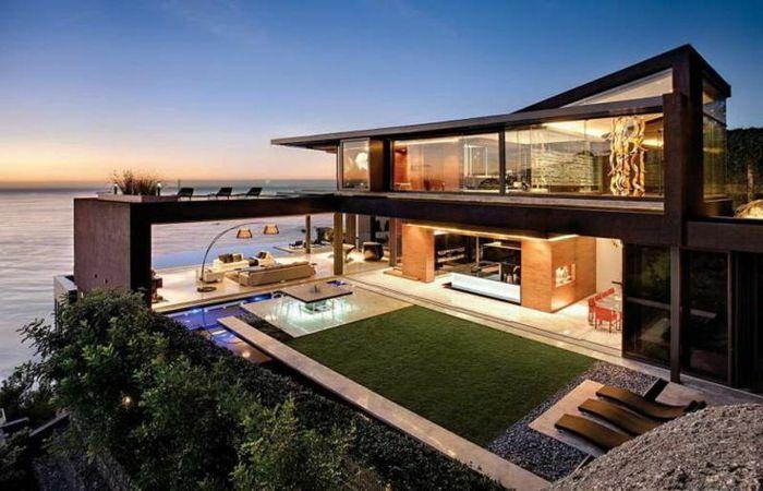 Otroliga arkitektoniska mönster av moderna hus