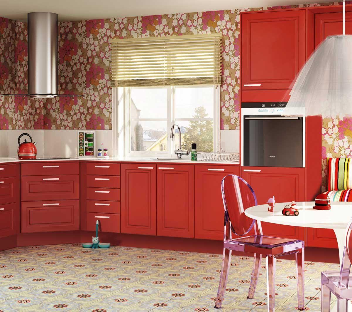 Röd köksdesign: idéer, väggar och inredning