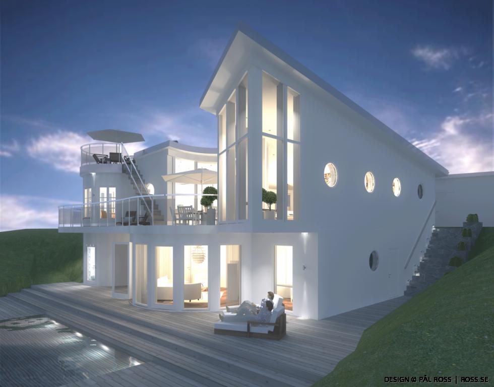 Sofistikerat och lyxigt vitt hus av Beaumaris